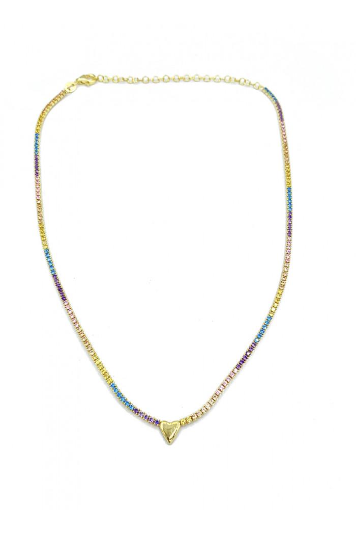 Pastel Rainbow Heart Choker Kolye