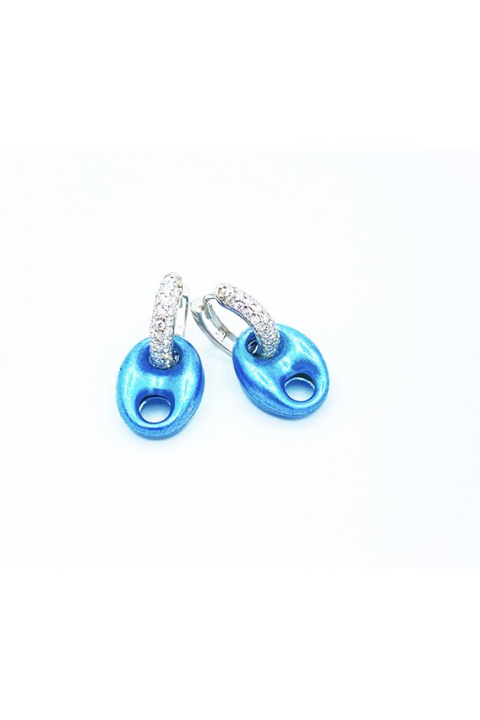Bebe Mavisi Metalik Mini Küpe