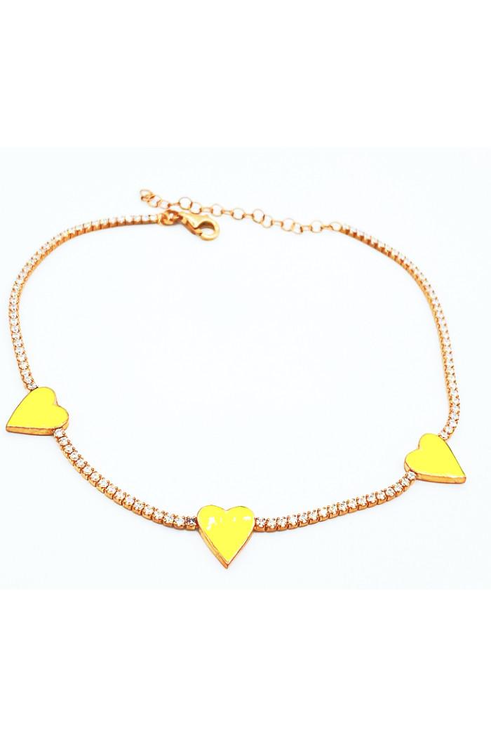 Sarı Neon Mineli Üç Kalpli Halhal